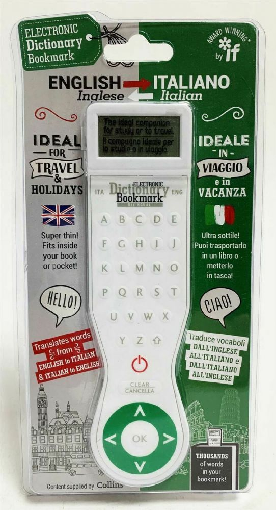 NEW IF Electronic Dictionary Bookmark English to Italian 45102